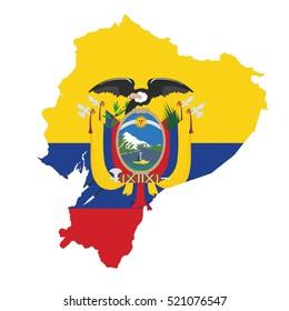 Flag-map of Ecuador