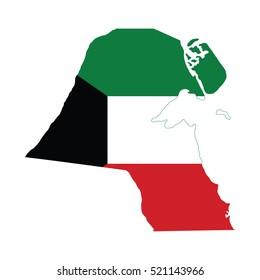 Flag-map of Kuwait