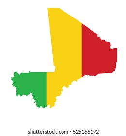 Flag-map of Mali