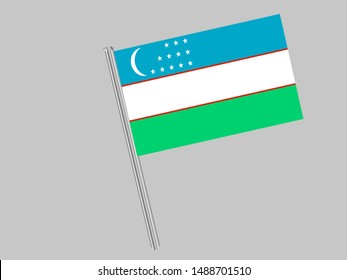 Flagpole of Beautiful national flag of Republic of Uzbekistan, original colors and proportion. Simply vector illustration eps10, from countries flag set.