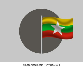 Flagpole inside circle with National flag of Republic of the Union of Myanmar. original colors and proportion. Simply vector illustration eps10, from countries flag set.