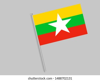 Flagpole of National flag of Republic of the Union of Myanmar. original colors and proportion. Simply vector illustration eps10, from countries flag set.