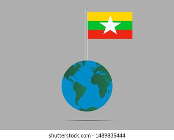 Flagpole on Earth globe with National flag of Republic of the Union of Myanmar. original colors and proportion. Simply vector illustration eps10, from countries flag set.