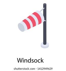 Flagpole, windsock isometric vector icon