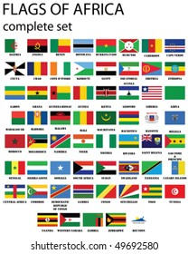 Flags of Africa- complete set of flags in original colors over white background
