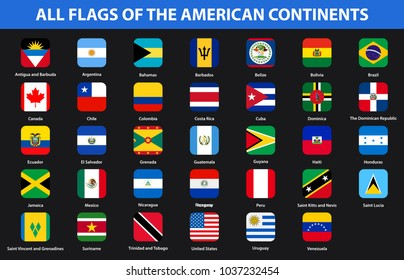 Flags of all countries of the American continents. Flat style