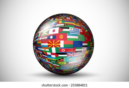 Flags of all countries in the form of spheres