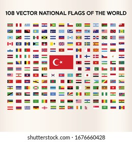 The flags of all countries of the world, all sovereign states recognized vector