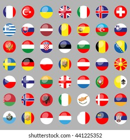 Flags of all European countries. 49 correct flags. set