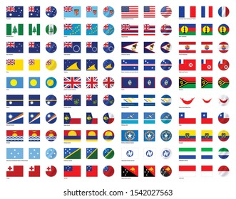 Flags of all Oceanian countries, sovereign states and dependent territories in Oceania (3:2, square, round, waving)