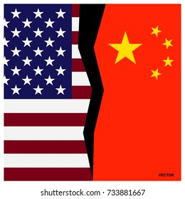Flags of America and China, divided by a crack. The symbol of confrontation, enmity, crisis between the two countries. Vector sign, icon, illustration.