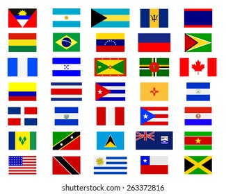 Flags of the Americas on a white background