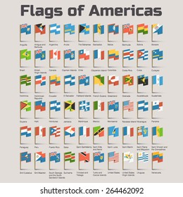 Flags of Americas. Vector Flat Illustration with American countries flags in cartoon style
