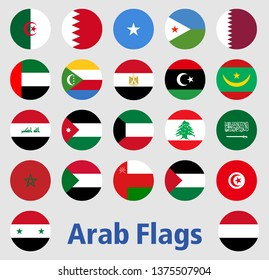 Flags of the Arab countries vectos On an isolated white background