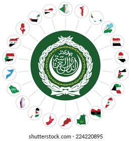 Flags of the Arab League member states overlaid on outline map and the Arab League emblem isolated on white background.  Syria included although currently suspended following the 2011 uprising
