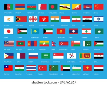 Flags of Asia. All Asian continent flags, complete set in original colors. All country flag set of Asia states.