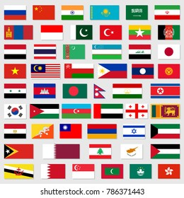 Flags of asia standard size in asia. Vector illustration