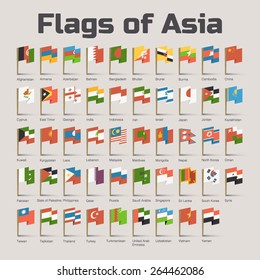 Flags of Asia. Vector Flat Illustration with Asian countries flags in cartoon style