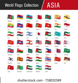 Flags of Asia, waving in the wind - Vector world flags collection