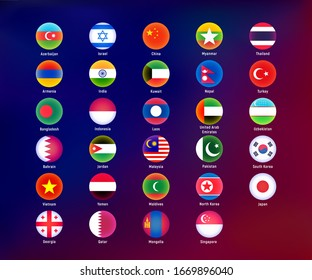 Flags of Asian countries round shape. Isolated on colored background. Vector eps 10.