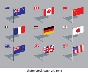 The flags of Australia, Canada, China, France, Germany, Japan, New Zealand, UK, and USA. Drawn in CMYK and placed on individual layers.