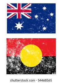 Flags of Australia in grunge style