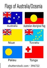 Flags of Australia/Oceania - Australia, Australian Aboriginal Flag, Niue, Tuvalu, Palau, and Tonga