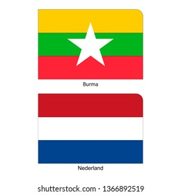 Flags of Burma or Myanmar and Nederland