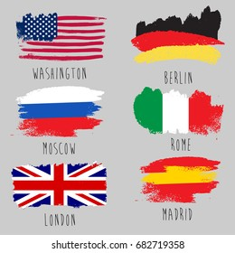 Flags with capitals: London, USA, Rome