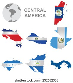 Flags of Central America collection overlaid on outline map isolated on white background with Panama shown solid colour due to copyright restrictions