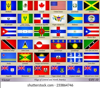 Flags of Central and North America with Names of Countries