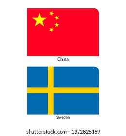Flags of China and Sweden