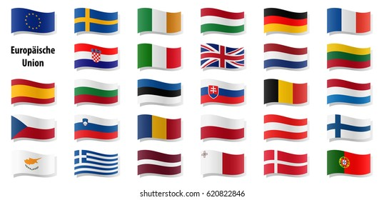flags collection of all european union countries