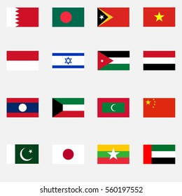Flags of countries, Flags of Asian countries, Japan, Pakistan, China, Bahrain, Israel, Vietnam, Bangladesh. Flat design, vector illustration, vector.