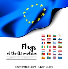 Flags of the countries of the European Union. EU flags. Vector set on white background