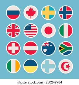 Flags of countries in the form of icons