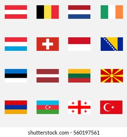 Flags of countries, Georgia, Armenia, Estonia, Latvia, Lithuania, Macedonia, Austria, Switzerland, Azeybardzhan, Turkey. Flat design, vector illustration, vector.