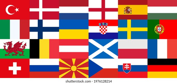 Flags of countries participating in the football championship in Europe 2020. Group stage final. 2020 European. Europe 2021. Sorted by group matches, collected in one banner. National flags. Vector