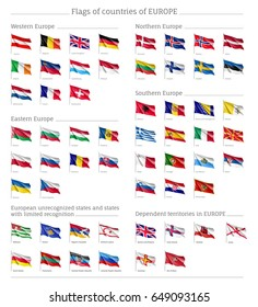 Flags of countries of Western, Northern, Easter, Southern Europe, big set, full collection wind waving fabric, chart of national emblems, symbol of freedom and national emblem, vector realistic