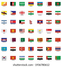 the flags of the country in the continent of asia icon set vector sign symbol