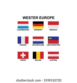 the flags of the country in the western europe icon set vector sign symbol