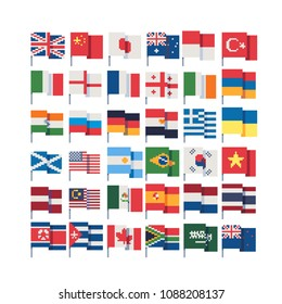 Flags of different countries on stick, pixel art icons set, China, Germany, Russia, USA, Italy,  England, Korea, Japan, Netherlands, isolated vector illustration. 8-bit. Design for stickers, app.