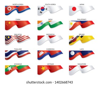 Flags of East Asia and South East Asia Country, Blowing, Fluttering, Vector Illustration, Background,