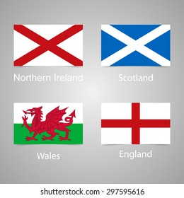 The flags of England, Scotland, Wales and Northern Ireland. Accurate proportions and colors. Vector illustration