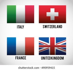 Flags of europe icon. Nation and government theme. Colorful and isolated design. Vector illustration