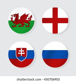 Flags of Europe. Vector illustration.