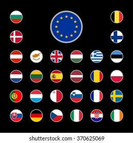 Flags of the European Union countries on black background
