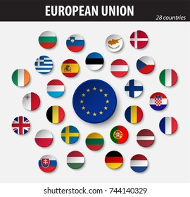 Flags of European Union and members .