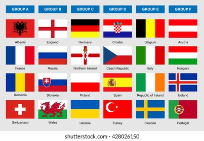 Flags of football teams, vector icons for soccer game championship.