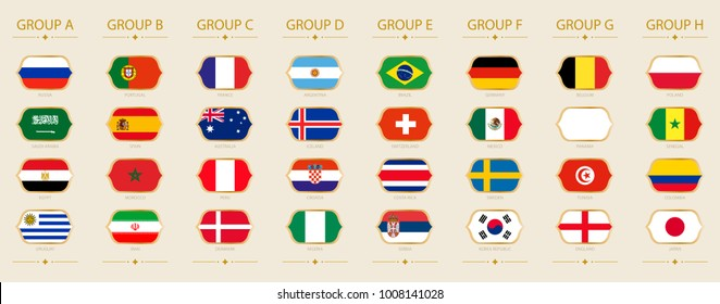 Flags of football tournament sorted by group on beige background
